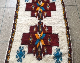 Moroccan Contemporary, Luxurious, Colorful Handwoven Azilal Rug, Wool / 170 X 97 CM / 5.6 X 3.2 ft