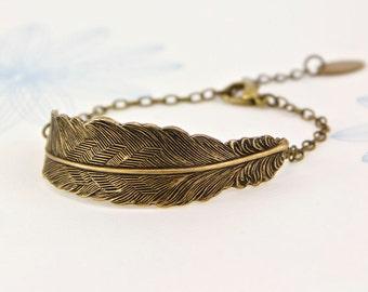 Feather Cuff Bracelet, Bronze Antique Gold Feather Bangle