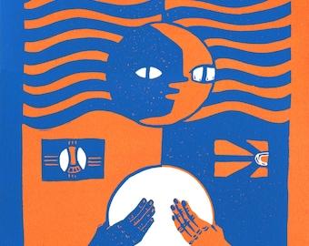 "Reduction Linocut, ""One"" 2016, Blue/Orange. (Edition of 12)"