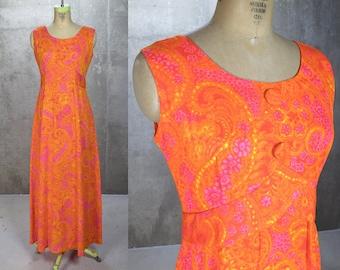 Hawaiian Dress • Vintage 1960s Tiki Dress • Mad Men Vacation • Neon Orange Maxi • Casual Ceire Hawaii Nei Honolulu • Women's S/M