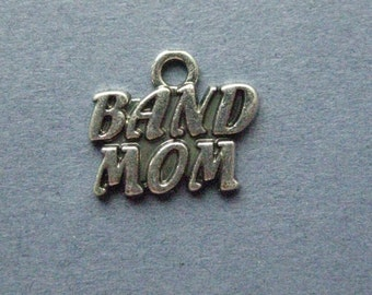 5 Band Mom Charms - Band Mom Pendant - Band- Music Charm - Instrument - Antique Silver - 16mm x 14mm - (P2-12101)