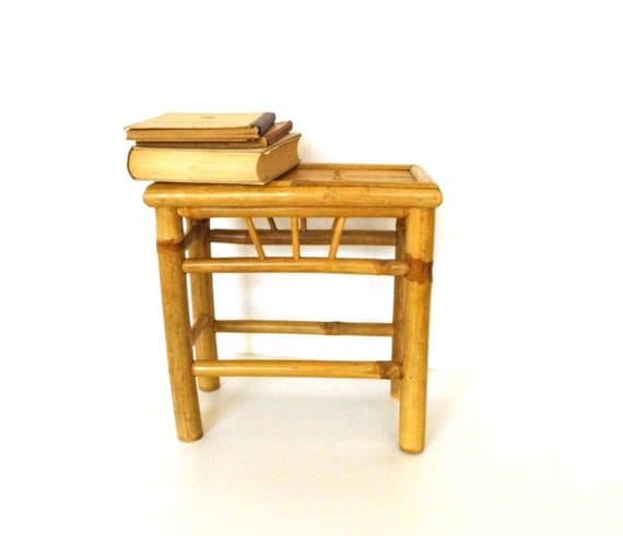 Bamboo Plant On Table: Vintage Bamboo Coffee Table Small Lamp Bedside End Table
