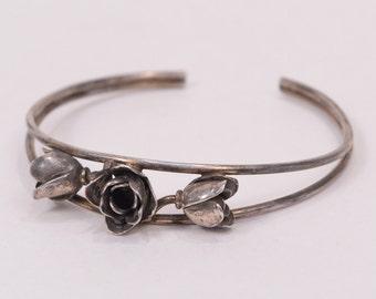 Vintage Flower design .925 STERLING SILVER Bracelet (13.9g)