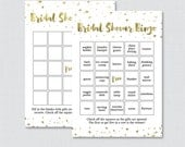 Gold Bridal Shower Bingo Printable - 60 Unique Pre-filled Bingo Cards AND Blank Cards - White and Faux Gold Foil Bridal Bingo 0010-G