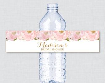 Pink Floral Bridal Shower Printable Water Bottle Labels - Blush Pink and Gold Garden Bridal Shower Personalized Water Bottle Labels - 0007