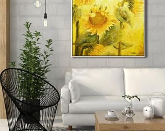 Sunflower Print, Flower Wall Decor, Living Room Art, Living Room Wall Art, Yellow Wall Decor, Large Wall Decor, Contemporary Art