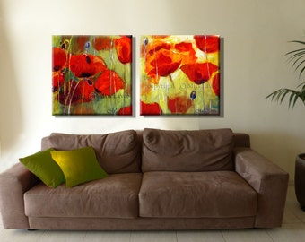 Landscape Painting, Oil Painting, Original Painting, Flowers Painting, Poppy Painting, Modern Art Set, Canvas Art, Poppy Wall Art