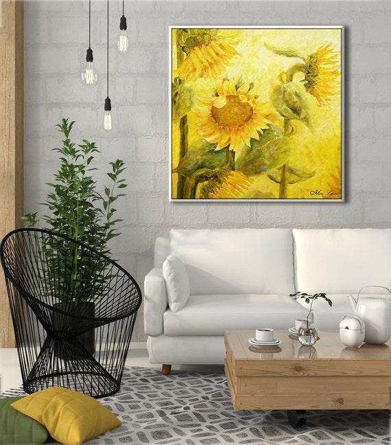 Sunflower print flower wall decor living room art living - Living room flower decorations ...