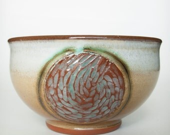 Handmade Bowl with Carved Water Texture