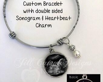 SONOGRAM bracelet - Baby Heartbeat bracelet - sonogram and heartbeat - expandable bangle bracelet - Sonogram Bracelet, Baby Sonogram Jewelry