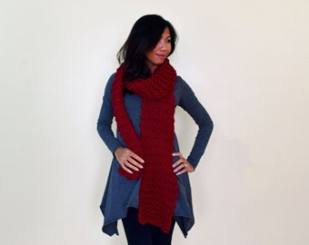 Cranberry red knit scarf, hand knit scarf, extra long scarf, chunky knit scarf, ready to ship