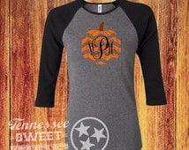 Monogram Chevron Pumpkin, Fall Raglan, Thanksgiving Tee, Halloween Shirt, Baseball Tee, Pumpkin Patch, Women's T-shirt, Raglan, Ladies Tee