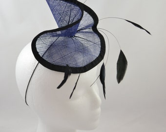 Blue wave fascinator with feathers