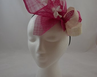 Hot pink & white fascinator