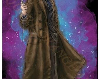 Tenth Doctor David Tennant 10th Dr Who Inspired Splash Style A4 Original Art Print