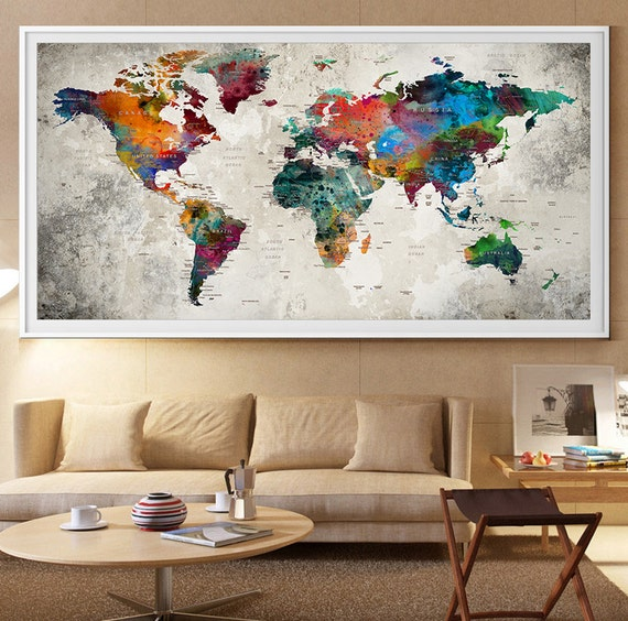 Large world map wall art print large world map art extra - Posters gigantes para pared ...