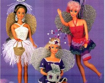 6 Designs! Tooth Fairies Fashion Doll Dresses, fits Barbie dolls. Thread Crochet Pattern designs by Juanita Turner, Annie's Attic 878802.