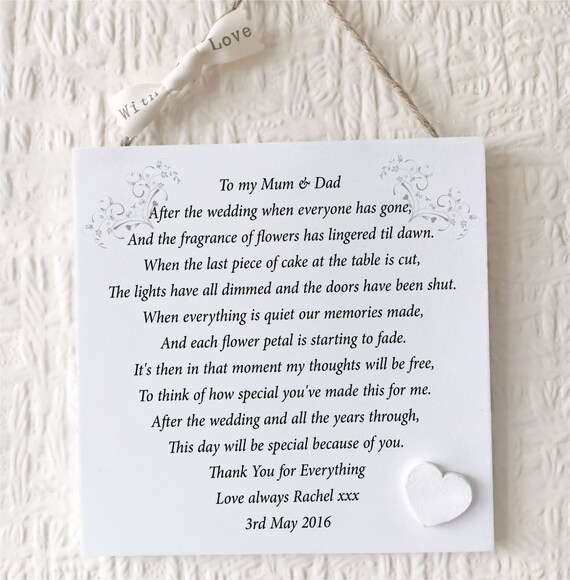 Personalised Wedding Gifts For Bride And Groom Singapore : ... Thank You Wedding Gift Personalised Mum Dad Plaque Bride Groom W235