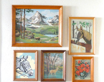 Large Vintage Mountain Scape Paint by Number