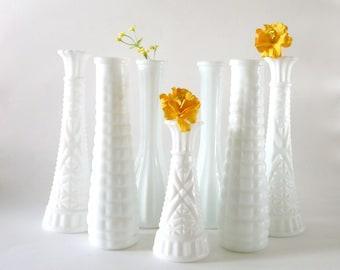 Vintage Milk Glass Vase Collection--7 Pieces