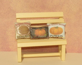 Pumpkin Vintage Label Dollhouse Pillows Set of Three