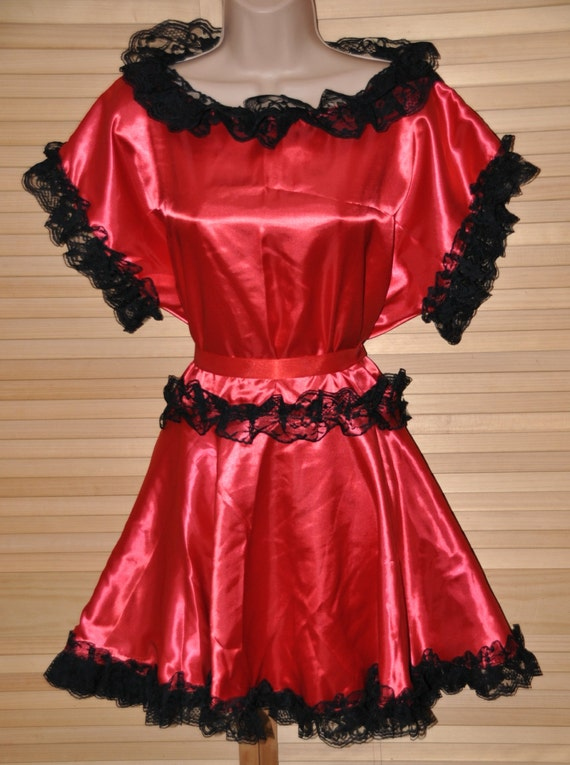 Flaming red pretty little silky satin sissy Maid dress, Sissy Lingerie