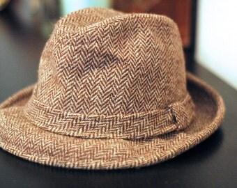Herringbone tweed fedora hat