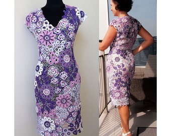 irish crochet dress pattern,detailed tutorial,irish lace dress,crochet dress pattern,freeform dress,crochet midi dress,crochet motifs PDF