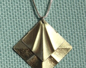Two-piece Square Necklace, Metallic Gold