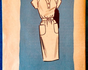 "Vintage 1960's shift dress sewing pattern - Marian Martin 9343 - size 12 (32"" bust, 25"" waist, 34"" hip) - approx. 1963"