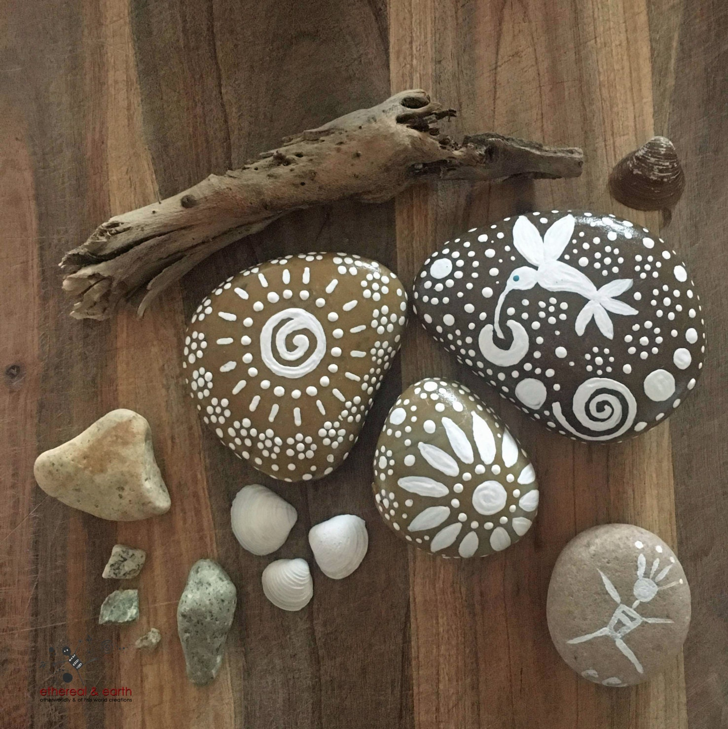 rock art painted rock natural decor mandala design hand