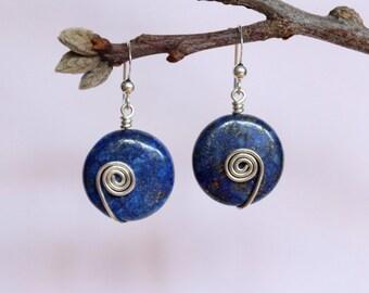 Lapis Lazuli Earrings, Sterling Silver Earrings, Silver Dangle Earrings, Silver Wire Earrings, Gemstone Earrings, Lapis Dangle Earrings