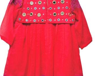 Girls Pink Dress- Junaid Jamshed Toddler Girl Size 2 Hot Pink/ Red 4-Pc Chiffon Dress Indian, Pakistani Kids Dresses, Anarkali