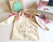 Easter bunny basket - Easter basket - Bunny basket - Easter bag - Easter Bunny - Childrens Easter bag - Happy Easter - Canvas Bunny Bag