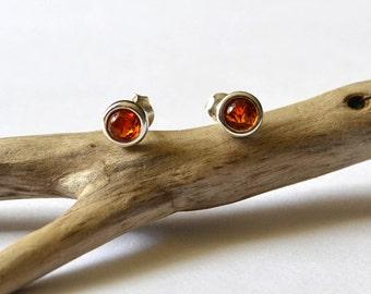 Amber Earrings Amber Silver Earring Amber Stud Earrings Tiny Baltic Amber Earring