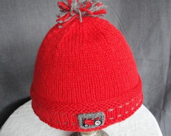 boy's red hat, kid's red cap, knitted beanie hat, tractor design cap, hat with pompom, knitted wool cap, wool knit hat, red and gray beanie