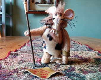 GROGG, Mousekins Paleolithic Sabre-Toothed Cave-Mouse Miniature Plush Art Doll
