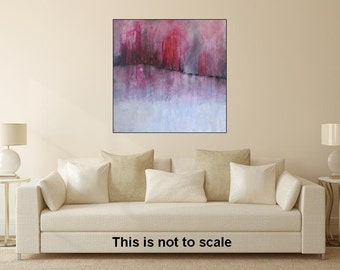 Abstract Landscape Modern Square Acrylic Painting Pink Painting Pink Art Large Abstract Art