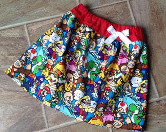 Girls Mario Brothers Skirt, Mario Brothers Birthday Skirt, Super Mario Brothers Party Skirt, Size 6 9 12 18 2T 3T 4T 5T 6