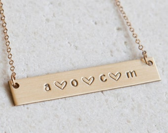 Custom Mommy Necklace/ New Mom Necklace/ Gift for Mom/ Personalized Bar Necklace/ Initial Bar Necklace/ 14k Gold Fill/Gift for Wife/ N271