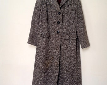 1940s Stroock 3/4 Tweed Car Coat - Camel & Black Herringbone