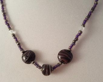 Dark Purple Swirl Lamp Work Glass Bead Jewelry Set - Dark Purple Necklace - Dark Purple Earrings - Dark Purple Necklace & Earrings Set