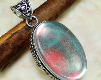 Rainbow Mystic Topaz Sterling Silver Pendant 2""