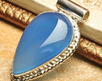 """Blue Chalcedony Sterling Silver Pendant 2"""""""