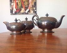 Antique silver plate tea set - tea service - teapot - creamer - pitcher - sugarbowl