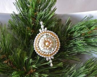 Vintage Handmade Velvet And Beading Christmas Ornament