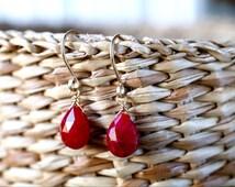 Genuine Ruby Earrings, July Birthstone Earrings, Natural Red Gemstone Drop Leverbacks Earrings, Yellow/ Rose Gold Filled/ Sterling Silver
