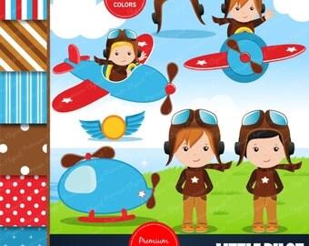 Aviator clipart commercial use, pilot party clipart, airplane party clipart, Pilot clipart, Digital clipart, Pilot boy - CL125