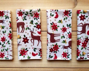 Red Poinsettias, Reindeer Christmas Cloth Napkins  Pack of 8