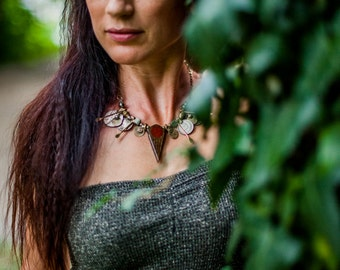 Tribal fusion bellydance jewelry | Talhakimt pendant | Gypsy statement jewelry | Tribal Antiques